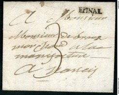 """1751 VOSGES Cote 240 €. """"EPINAL"""" En Noir (Lenain N°2a, Indice 17) Adressée à Nancy. Avec La Taxe Manuscrite """"3"""" - Storia Postale"""