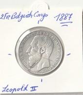 2 FR ZILVER  BELGISCH CONGO 1887 LEOPOLD II - 1885-1909: Leopold II