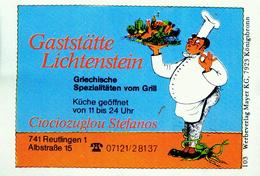 1 Altes Gasthausetikett, Gaststätte Lichtenstein, Ciociozuglou Stefanos, 7410 Reutlingen 1, Albstraße 15 #217 - Matchbox Labels