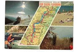 "OKANAGAN VALLEY, British Columbia, Canada, MAP,  ""Four Seasons Playground"",  1974 4X6 Chrome Postcard - Colombie Britannique"