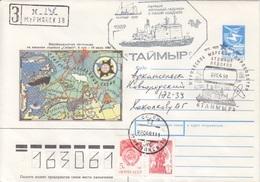 Polaire, Entier Voyage Du Sibir  Obl. Brise Glace Taymir 22/04/91, Cachet Illustré Du Navire + Recommandé 148 - Lettres & Documents