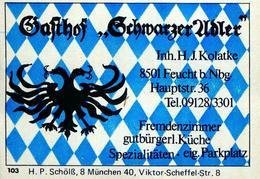 1 Altes Gasthausetikett, Gasthof Schwarzer Adler, Inh. H.J.Kolatke, 8501 Feucht B.Nbg., Hauptstr. 36 #218 - Matchbox Labels