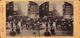 Chicago - Rue Washington +/- 1890 (top Animation, Tram Tramway) - Photos Stéréoscopiques