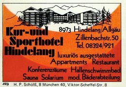 1 Altes Gasthausetikett, Kur-und Sporthotel Hindelang, 8973 Hindelang/Allgäu, Zillenbacherstr. 50 #219 - Matchbox Labels