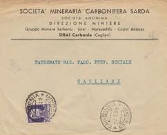 Carbonia. 1939. Annullo Guller CARNONIA *CAGLIARI*, Su Letetra Pubblicitaria SOCIETA' MINERARIA CARBONIFERA SARDA - 1900-44 Vittorio Emanuele III