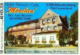 1 Altes Gasthausetikett, Hotel-Pension-Café Mörchen, Bes. Fam. Mörchen, 5789 Altastenberg/Hochsauerland #221 - Boites D'allumettes - Etiquettes
