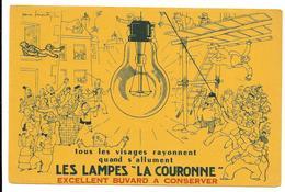 Buvard  Les LAMPES LA COURONNE, Illustré Par Pierre Leconte - Electricity & Gas