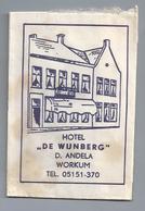Suikerzakje.- WORKUM HOTEL DE WIJNBERG. D. ANDELA. TEL. 05151-370. Sugar Sucre Zucchero Zucker - Suiker