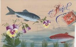 CPA Peinte En Celluloïd Fête 1er Avril Poisson Fish Fleur Pensée Fantaisie (2 Scans) - Unclassified