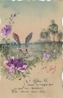 CPA Peinte En Celluloïd Fête 1er Avril Poisson Fish Fleur Pensée Fantaisie (2 Scans) - Non Classés