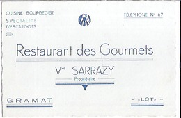 RESTAURANT DES GOURMETS   VVE SARRAZY   GRAMAT  LOT - Visitekaartjes