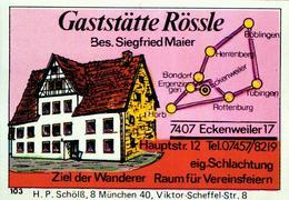 1 Altes Gasthausetikett, Gaststätte Rössle, Bes. Siegfried Maier, 7407 Eckenweiler 17, Hauptstr. 12 #223 - Matchbox Labels
