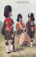 Postcard The Queen's Own Cameron Highlanders Sergeant And Drummers Uniform Tartan Kilt My Ref  B13788 - Uniforms