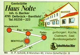 1 Altes Gasthausetikett, Haus Nolte, Gaststätte, Inh. G. Becker, 4795 Delbrück – Bentfeld #227 - Matchbox Labels