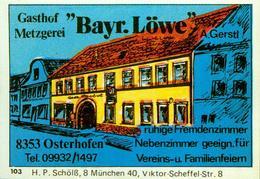 1 Altes Gasthausetikett, Gasthof Metzgerei Bayr. Löwe, A.Gerstl, 8353 Osterhofen #228 - Matchbox Labels