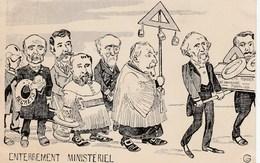 CPA Caricature Satirique Enterrement Ministère ROUVIER / COMBES Franc-Maçon Masonic Illustrateur (2 Scans) - Satirisch