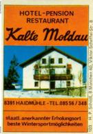 1 Altes Gasthausetikett, Hotel – Pension Restaurant Kalte Moldau, 8391 Haidmühle #230 - Boites D'allumettes - Etiquettes