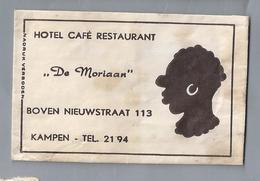 Suikerzakje.- KAMPEN. HOTEL CAFÉ RESTAURANT - DE MORIAAN -. Boven Nieuwstraat 113. Sugar Sucre Zucchero Zucker - Suiker