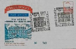 AEROGRAMME GENOVA Esposizione 23,24,25-11-1974 - Esposizioni Filateliche