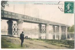 ARGENTEUIL  95 Pont Du Chemin De Fer . Animée . Colorisée . 1913 - Argenteuil