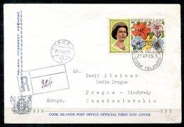 5506 - COOK-INSELN - R-Brief Mit Mi.191 (8 Dollar) Von Rarotonga Nach Prag (Südseeblumen) - Cookinseln