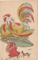 CPA Femme Lady Women Girl Mode Chapeau Immense En Forme De Poule Hen Galinacée Illustrateur RAOUL (2 Scans) - Illustratori & Fotografie