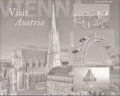 "AUSTRIA // AUTRICHE -  EUROPA 2012 -TEMA ANUAL "" VISITE AUSTRIA "".- PRUEBA NEGRA De La HOJITA BLOQUE - SIN DENTAR - 2012"