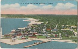 Pensacola US Navy Station FL Postcard Aerial View - Pensacola
