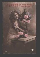 Ieper / Ypres - D'Ypres Je Vous Envoie Ces Fleurs - Fantaisie / Fantasie Kaart - Meisje Met Bloemen - 1914 - Ieper