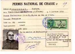 PERMIS NATIONAL DE CHASSE  1962  TIMBRE FISCAL  TAMPON MONTMORENCY PARIS  -DESC2019 GERA ALB - Fiscaux