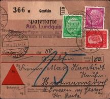 ! 1934 Nachnahme Paketkarte Deutsches Reich, Genthin, Crossen Elster - Alemania