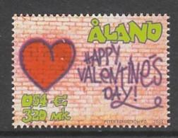 """TIMBRE NEUF D'ALAND - SAINT-VALENTIN : COEUR ET """"BONNE SAINT-VALENTIN"""" N° Y&T 190 - Celebrations"""