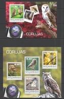 ST2426 2014 MOZAMBIQUE MOCAMBIQUE FAUNA BIRDS OWLS CORUJAS KB+BL MNH - Uilen