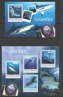 ST2429 2014 MOZAMBIQUE MOCAMBIQUE FAUNA FISH & MARINE LIFE SHARKS TUBAROES KB+BL MNH - Marine Life