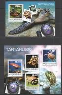 ST2436 2014 MOZAMBIQUE MOCAMBIQUE FAUNA REPTILES TURTLES TARTARUGAS KB+BL MNH - Schildkröten