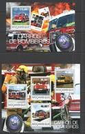 ST2446 2014 MOZAMBIQUE MOCAMBIQUE TRANSPORT CARS AUTOMOBILES FIRE TRUCKS BOMBEIROS KB+BL MNH - Vrachtwagens