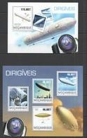 ST2449 2014 MOZAMBIQUE MOCAMBIQUE TRANSPORT AVIATION ZEPPELINS DIRIGIVIES KB+BL MNH - Zeppelins