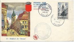 Enveloppe FDC Premier Jour : Le Beffroi De Douai 1956 - FDC