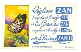 """Ancien BUVARD Réglisse ZAN - Série Papillons MEGISTANIS - """"Gommes ZAN Exquises Bienfaisantes Et Délicieux ZANBI"""" - Cake & Candy"""