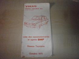 Ancienne Liste Des Concessionnaires Et Agents DAF    VOLVO FRANCE Octobre 1975 - Cars