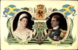Blason Cp Gustav VI Adolf Von Schweden, Margaret Of Connaught - Familles Royales