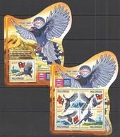 ST2244 2015 MOZAMBIQUE MOCAMBIQUE FAUNA FLAGS BIRDS PEGA-AZUL DO TAIWAN KB+BL MNH - Oiseaux
