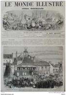 Napoléon III - Voyage De Leurs Majestés Dans Le Nord - Arras, Simulacre D'une Mine De Charbon - Page Original 1867 - Documents Historiques