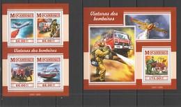 ST2280 2015 MOZAMBIQUE MOCAMBIQUE TRANSPORT CARS FIRE TRUCKS VIATURAS DOS BOMBEIROS KB+BL MNH - Vrachtwagens