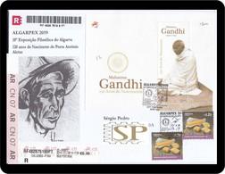 Portugal 2019 150 Mahatma Gandhi History Great Man Portimão António Aleixo Special Postmark Cachet Temporarie - Mahatma Gandhi