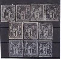 # Z.10877 France Republic 1877 - 80 Type II. 10 X Value 1 C. Used, Yvert 83, Michel 68: Pax & Mercur - 1876-1898 Sage (Type II)