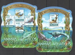 ST2909 2015 MOZAMBIQUE MOCAMBIQUE FAUNA PREHISTORIC MARINE ANIMALS KB+BL MNH - Postzegels