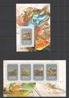 ST655 2014 GUINEE GUINEA FAUNA PREHISTORIC ANIMALS DINOSAURS LES DINOSAURES 1KB+1BL MNH - Briefmarken