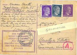 GUERRE 39-45 POSTKARTE D'un STO Au LAGER MARIE STUBE 75 BITTERFELD TàD 15.1.44  Via FRANKFURT + CENSURE Ae - Marcophilie (Lettres)