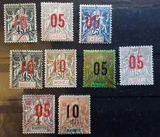 Type Groupe Surchargé 1912, 9 Timbres  : MOHELI, GRANDE COMORE, GABON,MAYOTTE,ST PIERRE ET MIQUELON  COTE D'IVOIRE - France (former Colonies & Protectorates)
